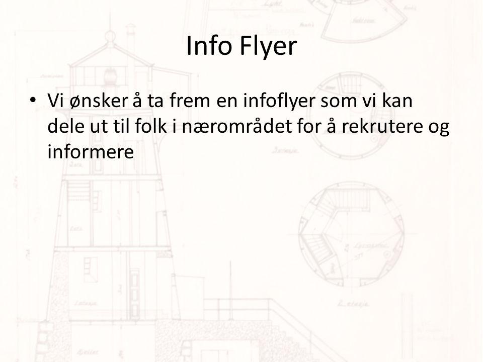 Info Flyer Vi ønsker å ta frem en infoflyer som vi kan dele ut til folk i nærområdet for å rekrutere og informere.
