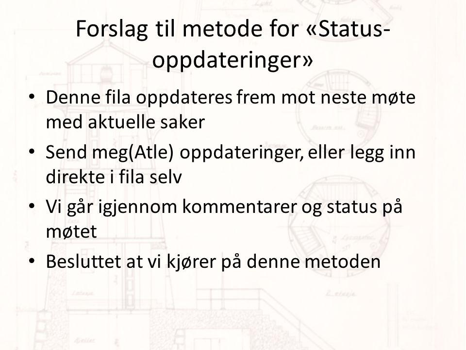 Forslag til metode for «Status-oppdateringer»