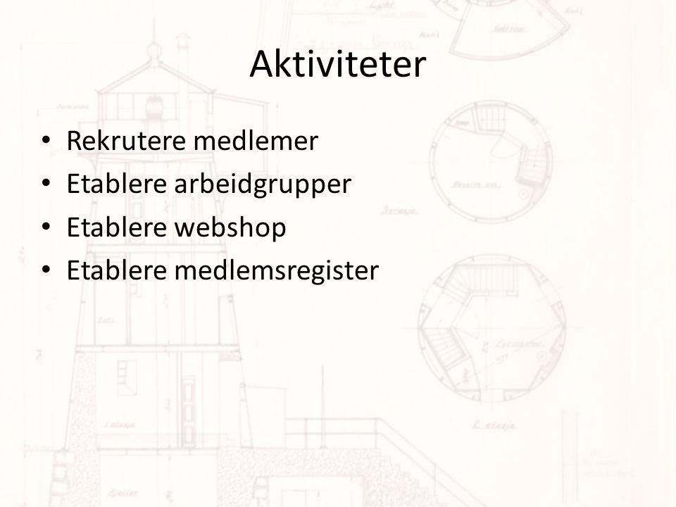 Aktiviteter Rekrutere medlemer Etablere arbeidgrupper Etablere webshop