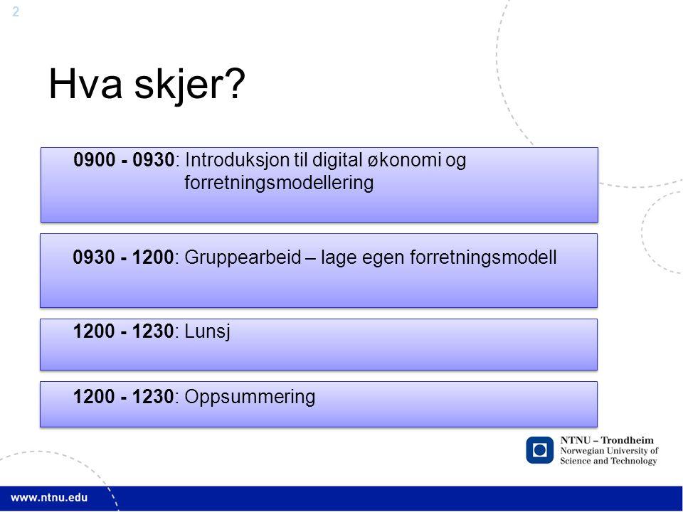 Hva skjer 0900 - 0930: Introduksjon til digital økonomi og forretningsmodellering. 0930 - 1200: Gruppearbeid – lage egen forretningsmodell.