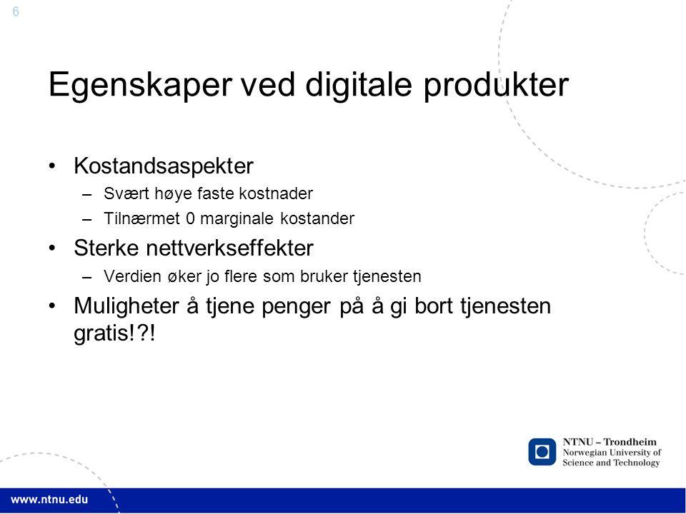 Egenskaper ved digitale produkter