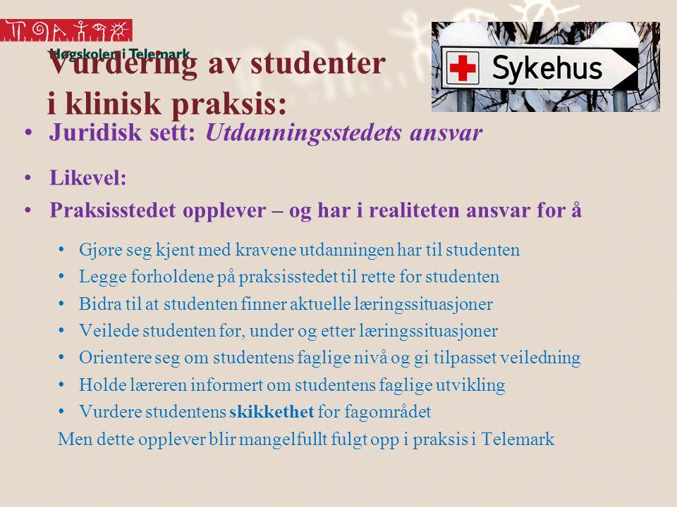 Vurdering av studenter i klinisk praksis: