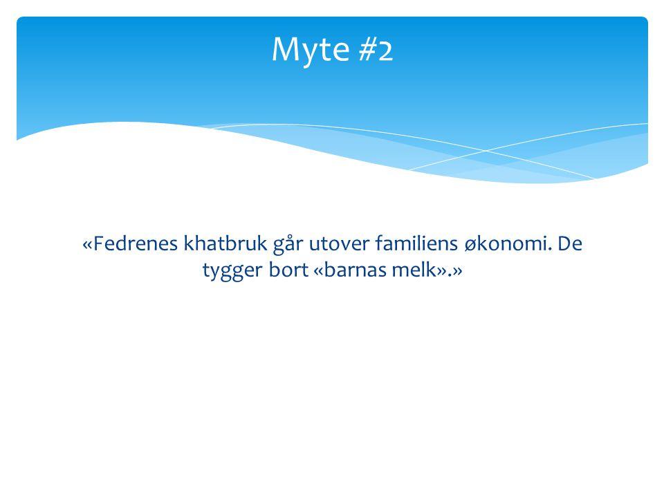 Myte #2 «Fedrenes khatbruk går utover familiens økonomi. De tygger bort «barnas melk».»