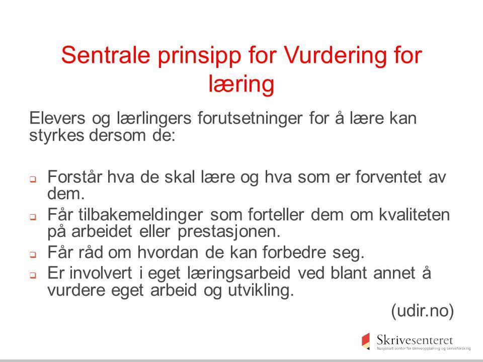 Sentrale prinsipp for Vurdering for læring