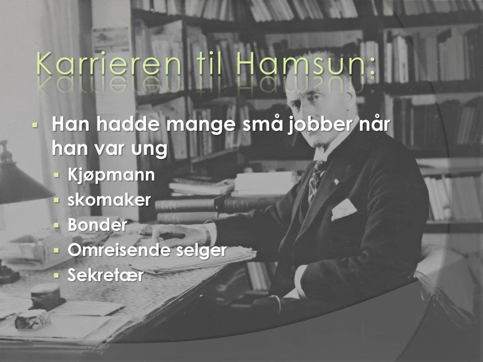Karrieren til Hamsun: Han hadde mange små jobber når han var ung