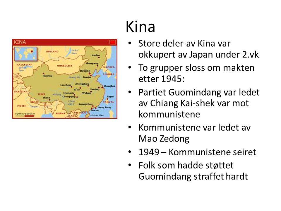 Kina Store deler av Kina var okkupert av Japan under 2.vk