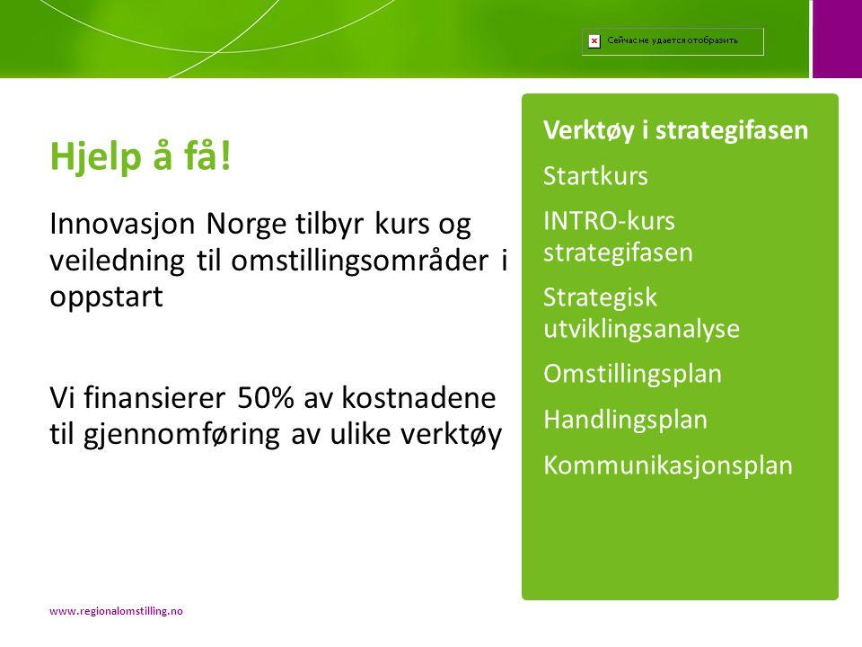Hjelp å få! Verktøy i strategifasen. Startkurs. INTRO-kurs strategifasen. Strategisk utviklingsanalyse.