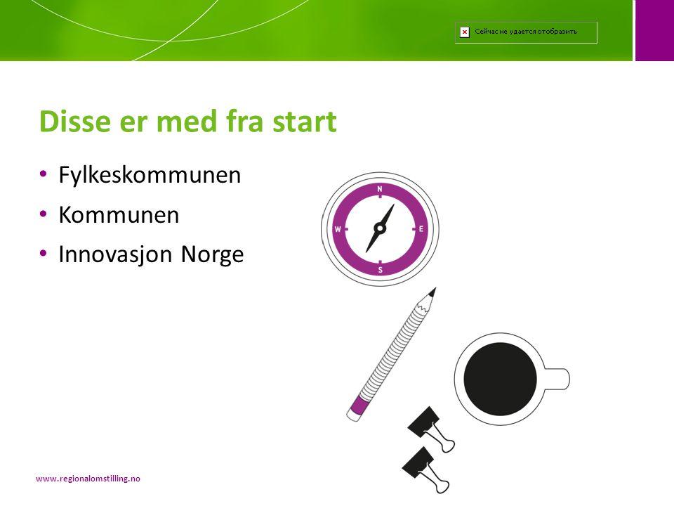 Disse er med fra start Fylkeskommunen Kommunen Innovasjon Norge