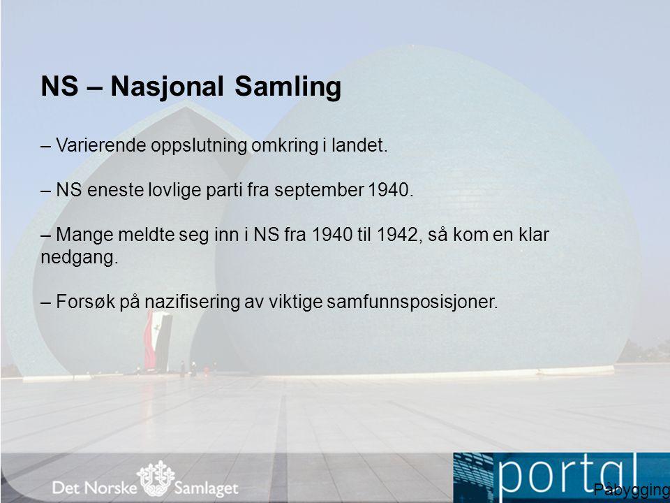 NS – Nasjonal Samling – Varierende oppslutning omkring i landet.