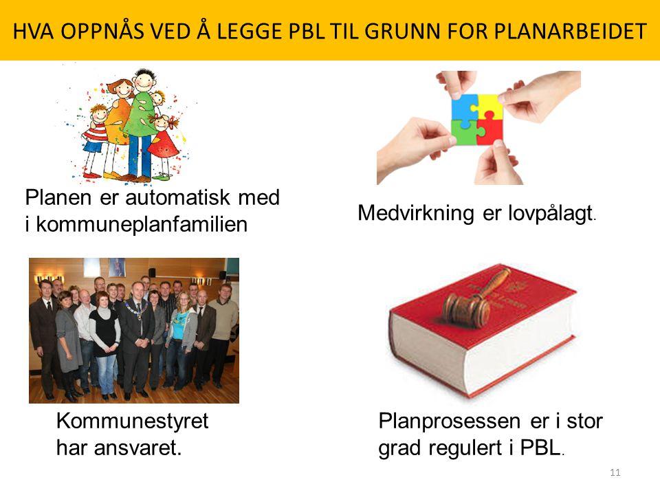 HVA OPPNÅS VED Å LEGGE PBL TIL GRUNN FOR PLANARBEIDET