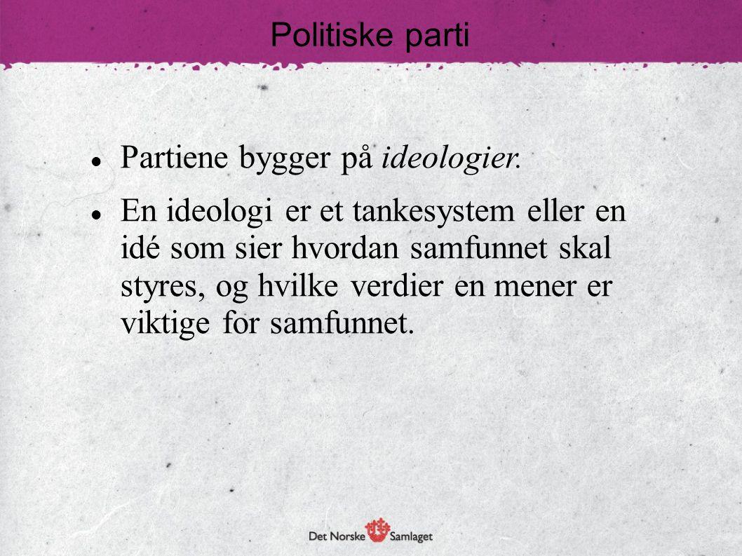 Politiske parti Partiene bygger på ideologier. En ideologi er et tankesystem eller en. idé som sier hvordan samfunnet skal.