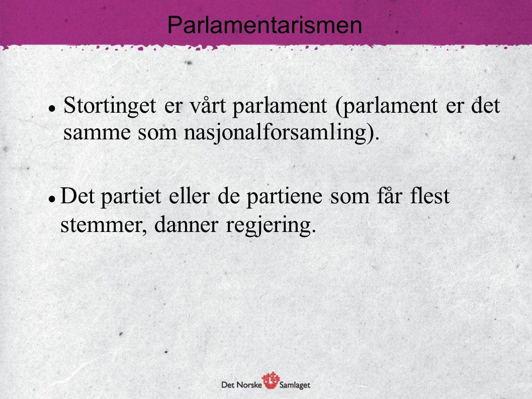 Parlamentarismen Stortinget er vårt parlament (parlament er det samme som nasjonalforsamling).