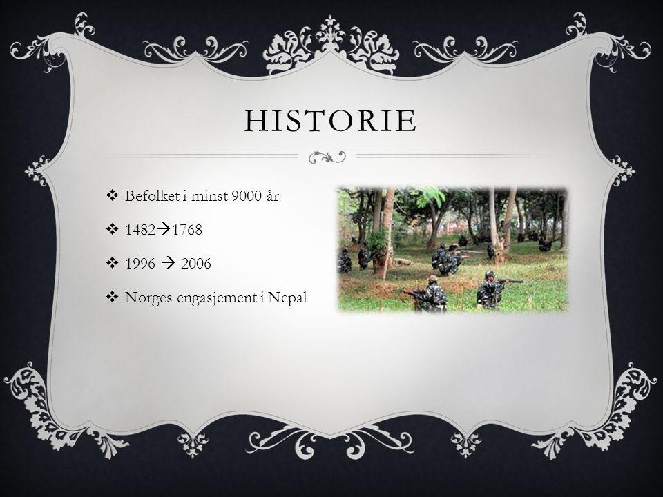 Historie Befolket i minst 9000 år 14821768 1996  2006