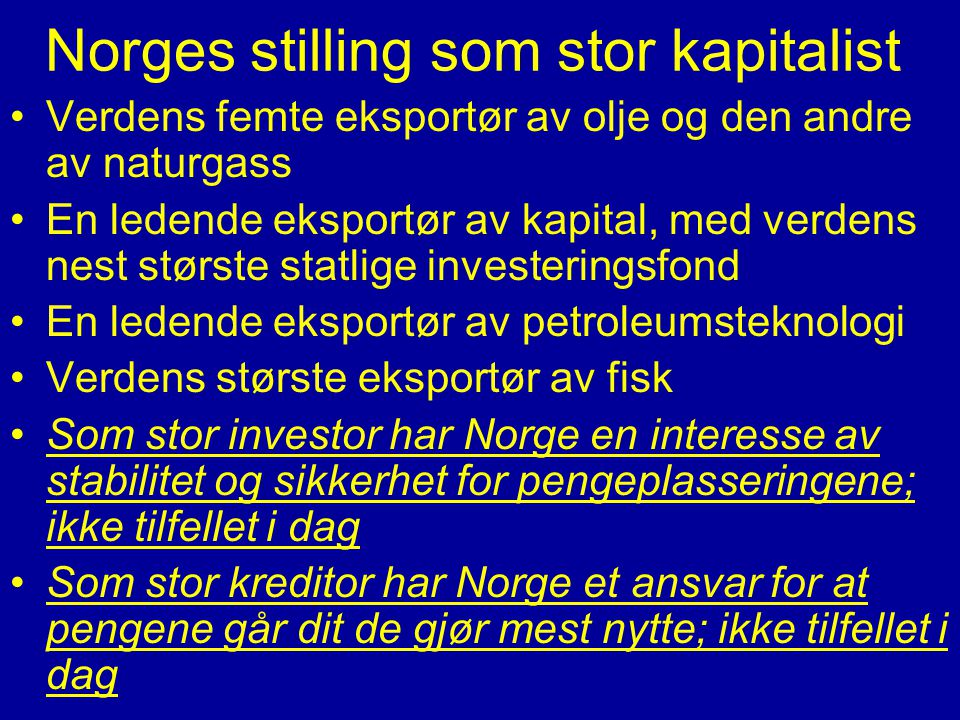 Norges stilling som stor kapitalist