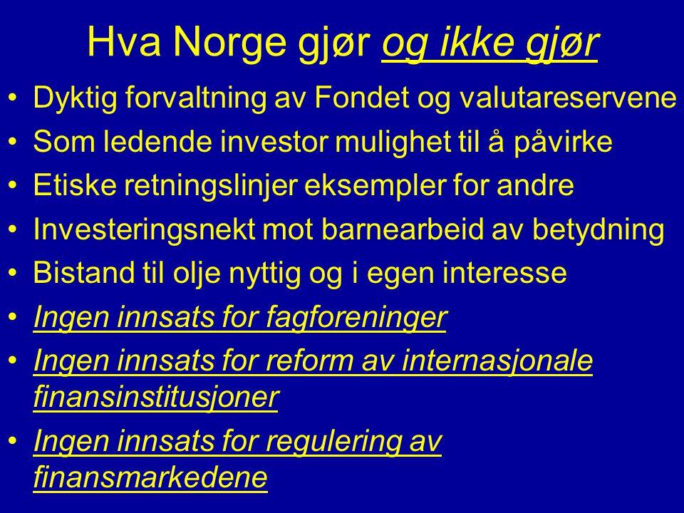 Hva Norge gjør og ikke gjør