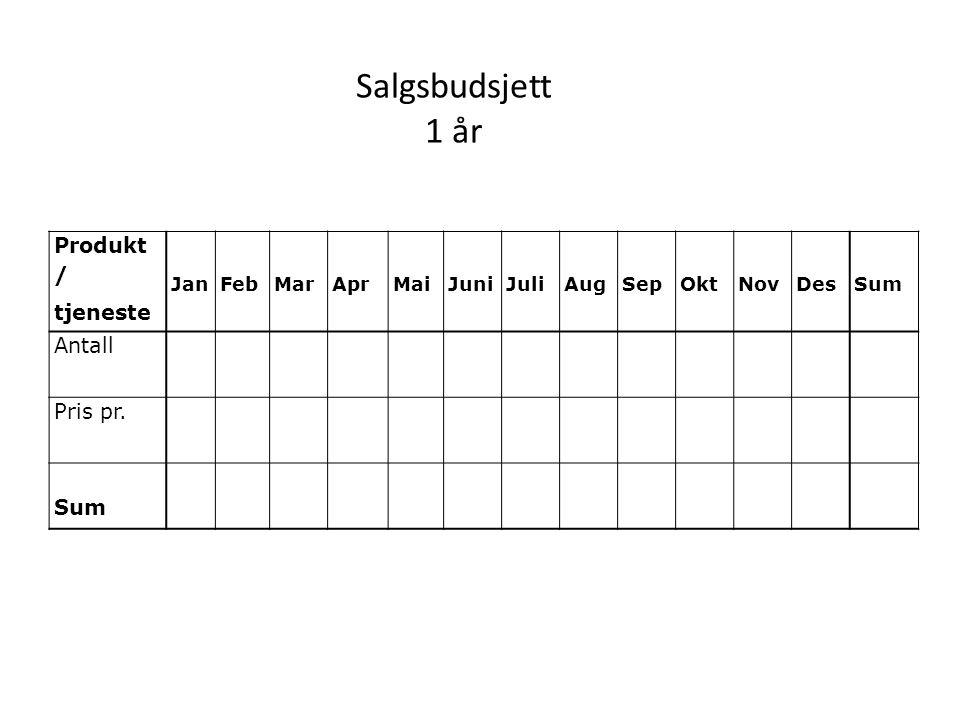 Salgsbudsjett 1 år Produkt / tjeneste Antall Pris pr. Jan Feb Mar Apr