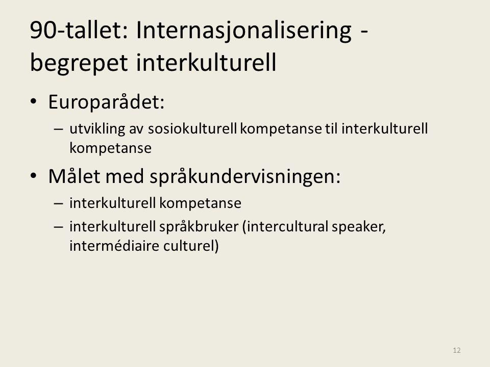 90-tallet: Internasjonalisering - begrepet interkulturell