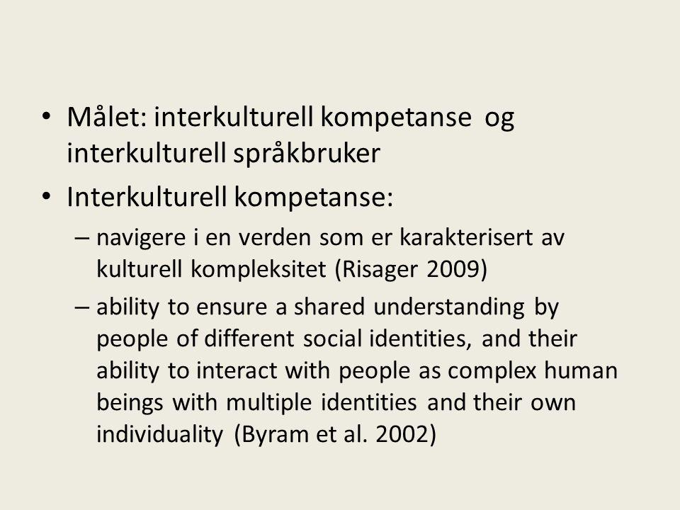 Målet: interkulturell kompetanse og interkulturell språkbruker