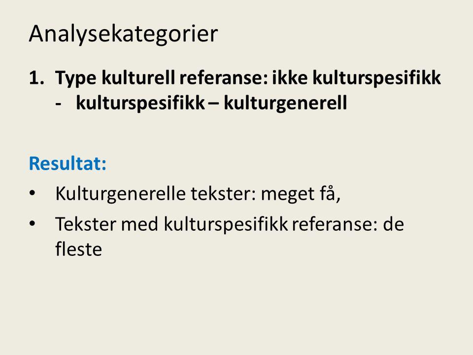 Analysekategorier Type kulturell referanse: ikke kulturspesifikk - kulturspesifikk – kulturgenerell.