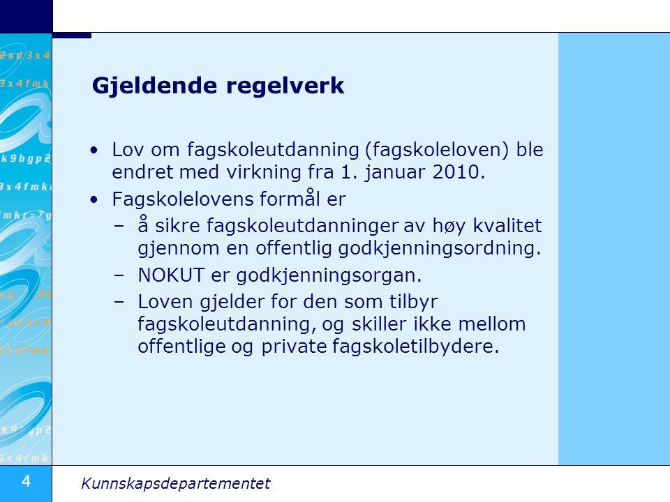 Gjeldende regelverk Lov om fagskoleutdanning (fagskoleloven) ble endret med virkning fra 1. januar 2010.