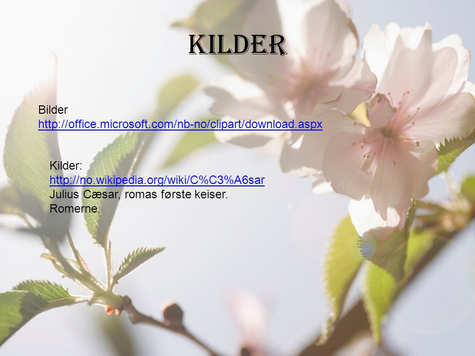 kilder Bilder: http://office.microsoft.com/nb-no/clipart/download.aspx