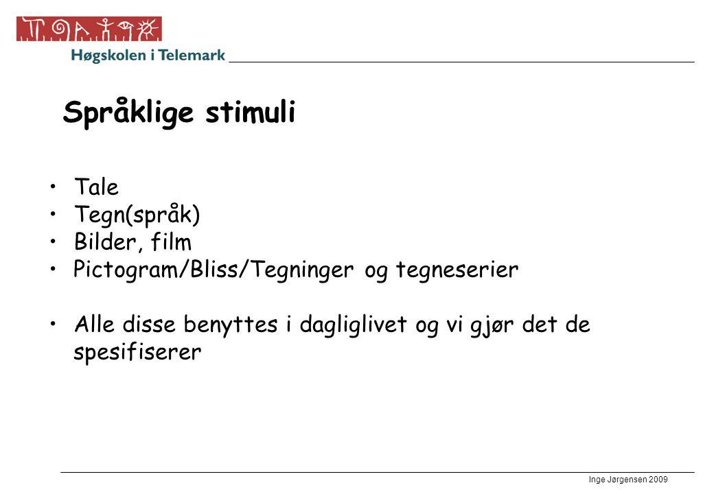 Språklige stimuli Tale Tegn(språk) Bilder, film