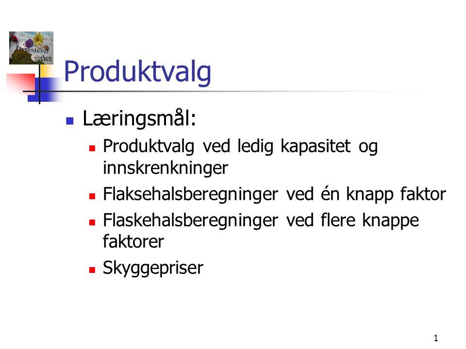 Produktvalg Læringsmål: