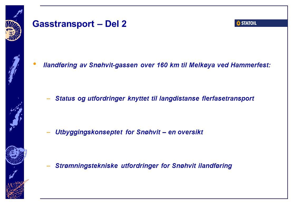 Gasstransport – Del 2 Ilandføring av Snøhvit-gassen over 160 km til Melkøya ved Hammerfest: