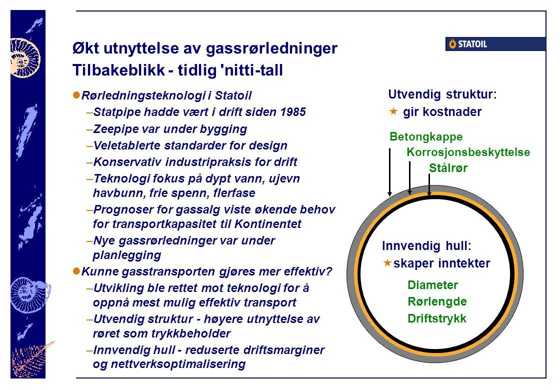 Økt utnyttelse av gassrørledninger Tilbakeblikk - tidlig nitti-tall