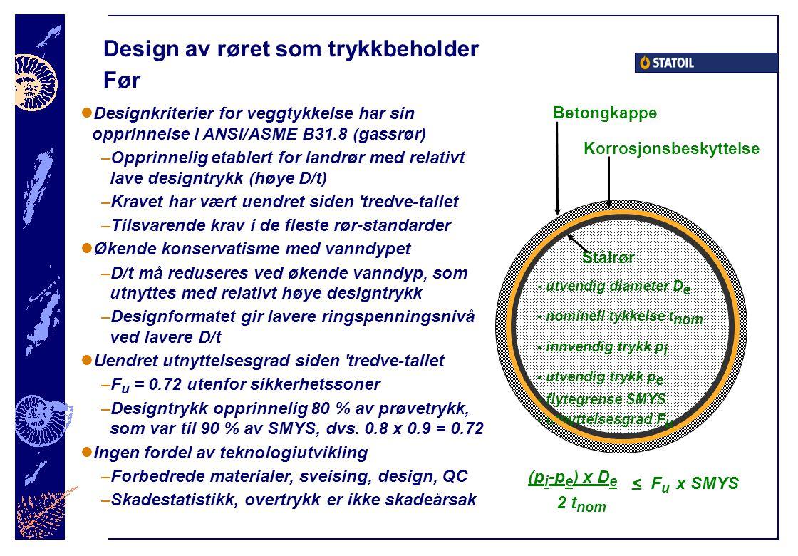 Design av røret som trykkbeholder Før