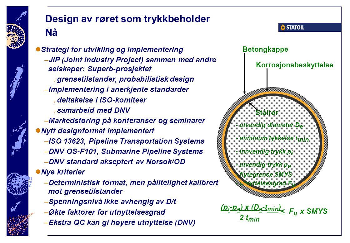 Design av røret som trykkbeholder Nå