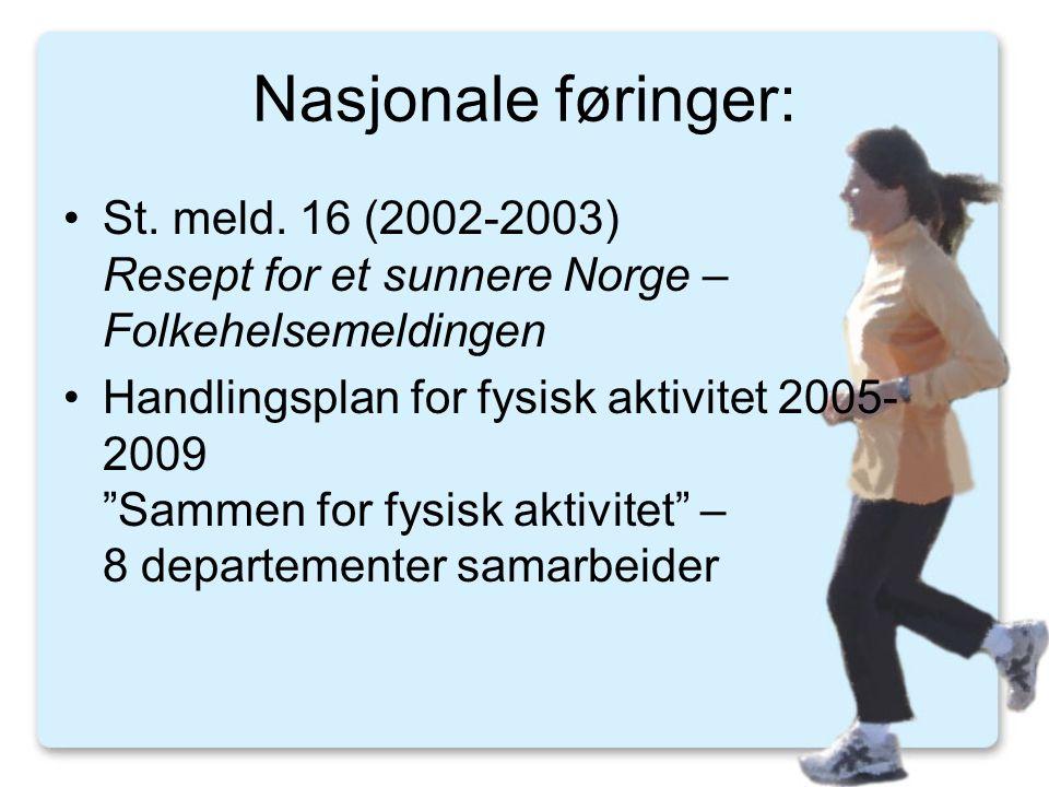 Nasjonale føringer: St. meld. 16 (2002-2003) Resept for et sunnere Norge – Folkehelsemeldingen.