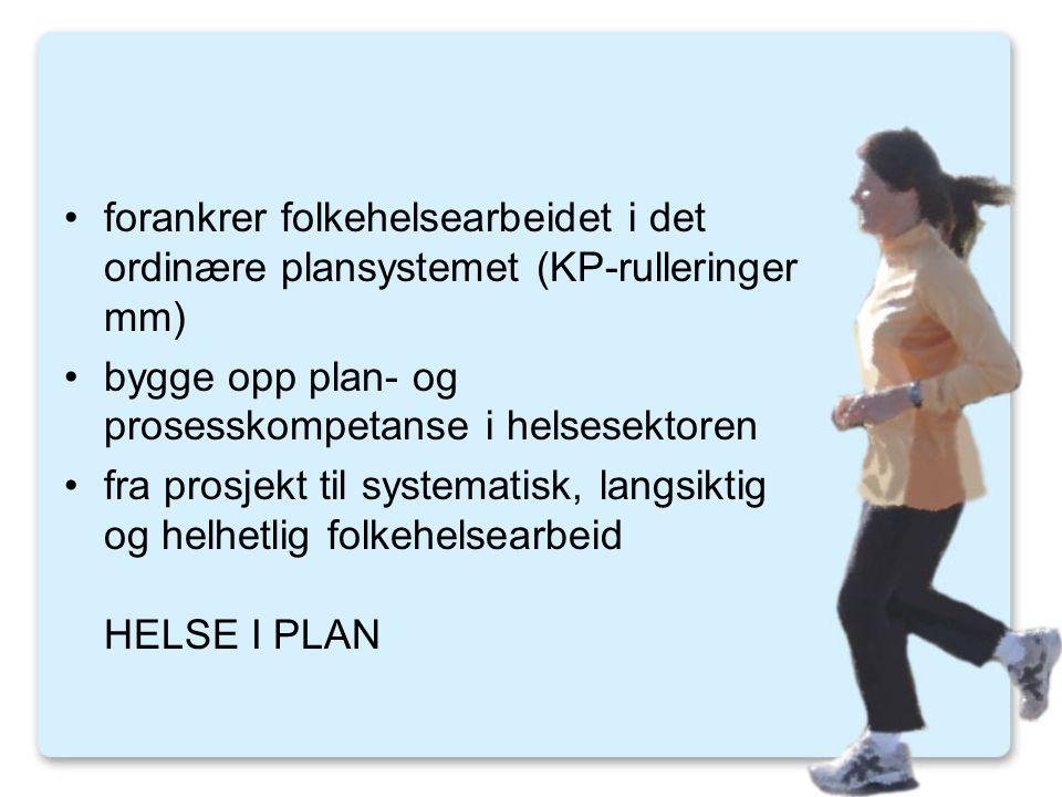 forankrer folkehelsearbeidet i det ordinære plansystemet (KP-rulleringer mm)