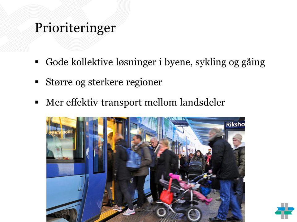 Prioriteringer Gode kollektive løsninger i byene, sykling og gåing
