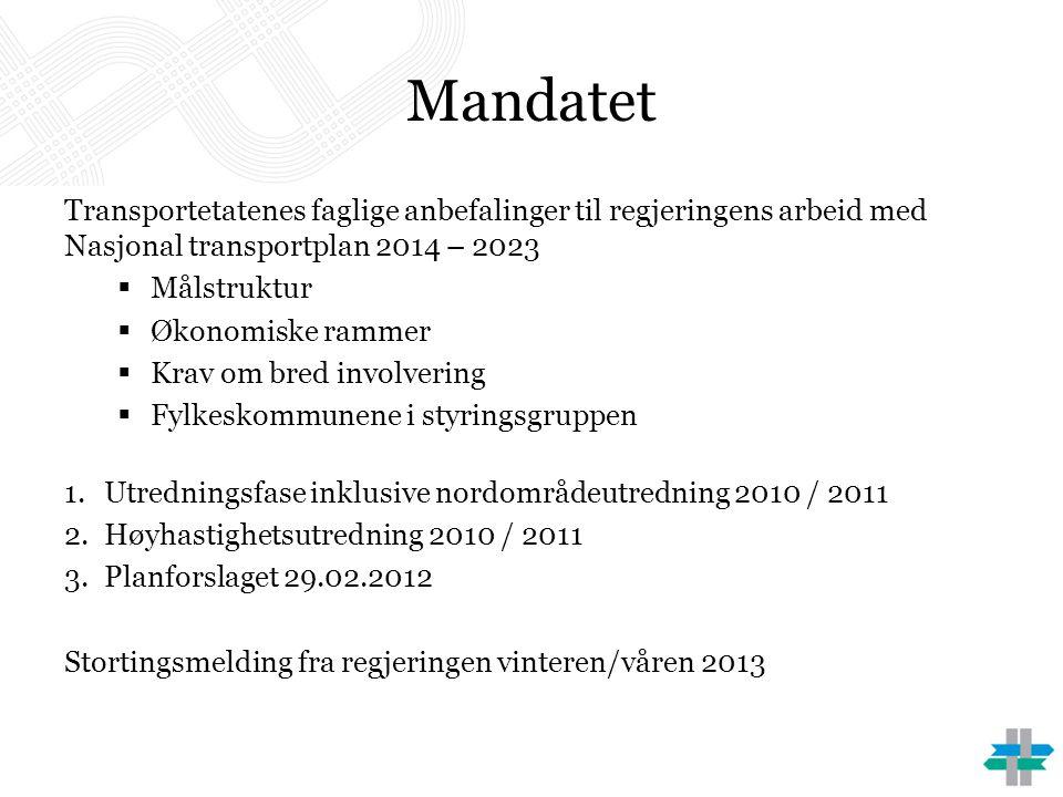 Mandatet Transportetatenes faglige anbefalinger til regjeringens arbeid med Nasjonal transportplan 2014 – 2023.