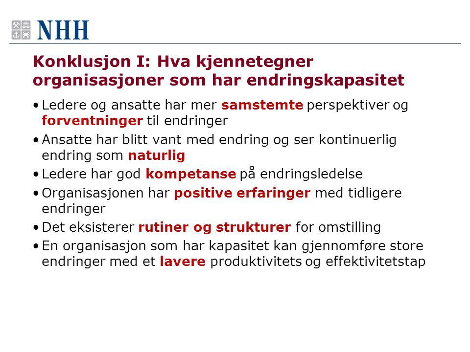 Konklusjon I: Hva kjennetegner organisasjoner som har endringskapasitet