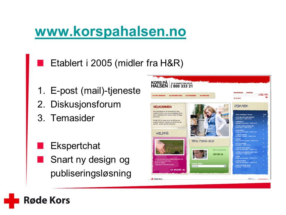 www.korspahalsen.no Etablert i 2005 (midler fra H&R)