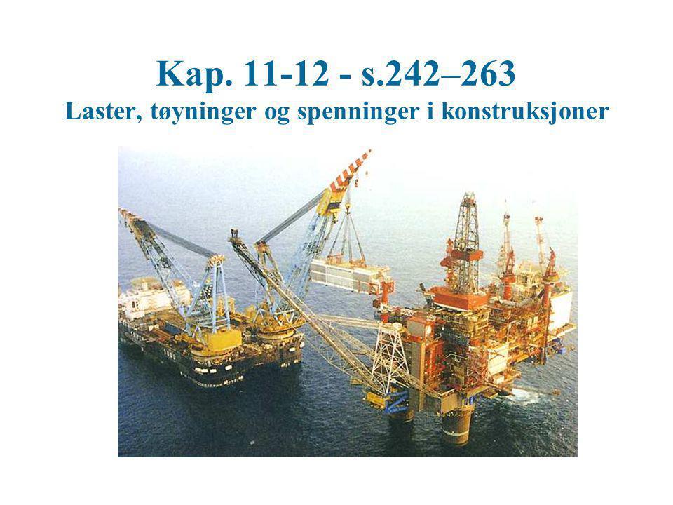 Kap. 11-12 - s.242–263 Laster, tøyninger og spenninger i konstruksjoner