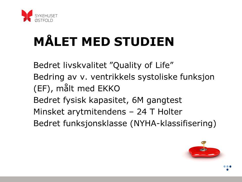 MÅLET MED STUDIEN Bedret livskvalitet Quality of Life