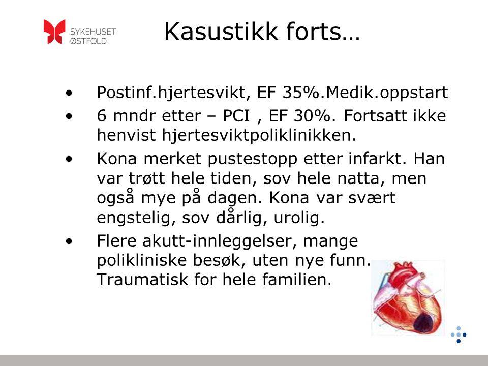 Kasustikk forts… Postinf.hjertesvikt, EF 35%.Medik.oppstart