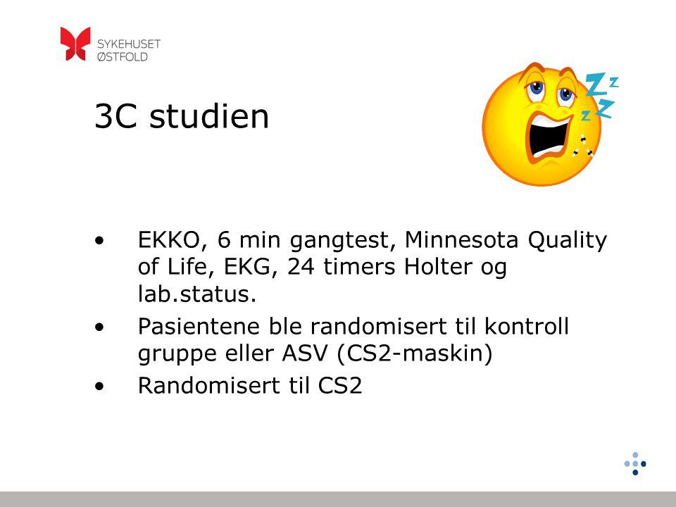 3C studien EKKO, 6 min gangtest, Minnesota Quality of Life, EKG, 24 timers Holter og lab.status.