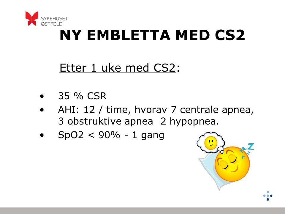 NY EMBLETTA MED CS2 Etter 1 uke med CS2: 35 % CSR