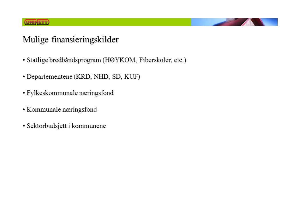 Mulige finansieringskilder