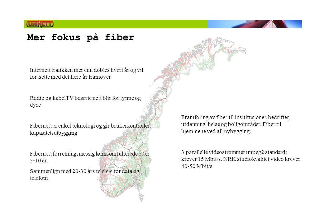 Mer fokus på fiber Internett trafikken mer enn dobles hvert år og vil fortsette med det flere år framover.