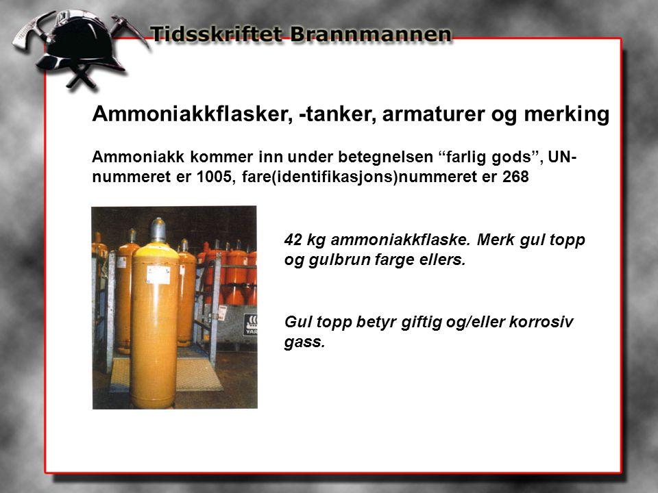 Ammoniakkflasker, -tanker, armaturer og merking