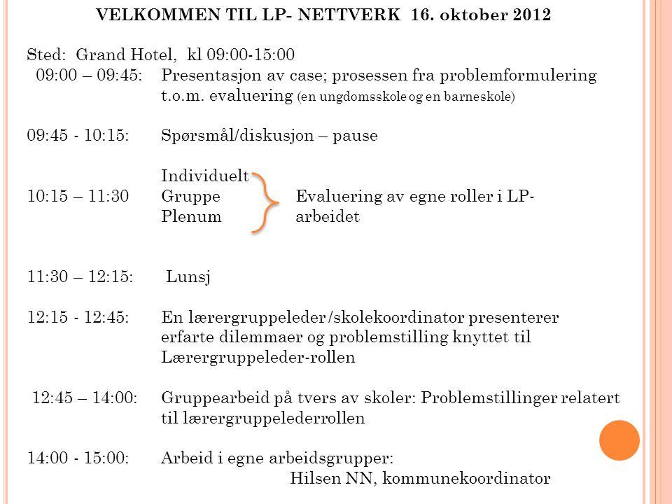 VELKOMMEN TIL LP- NETTVERK 16. oktober 2012