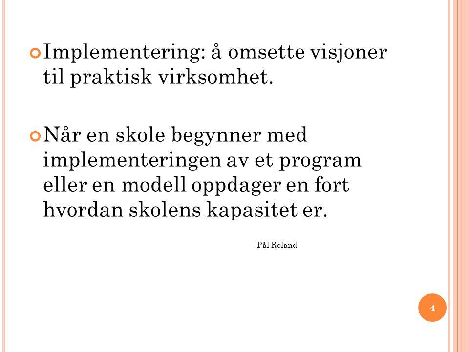 Pål Roland Implementering: å omsette visjoner til praktisk virksomhet.