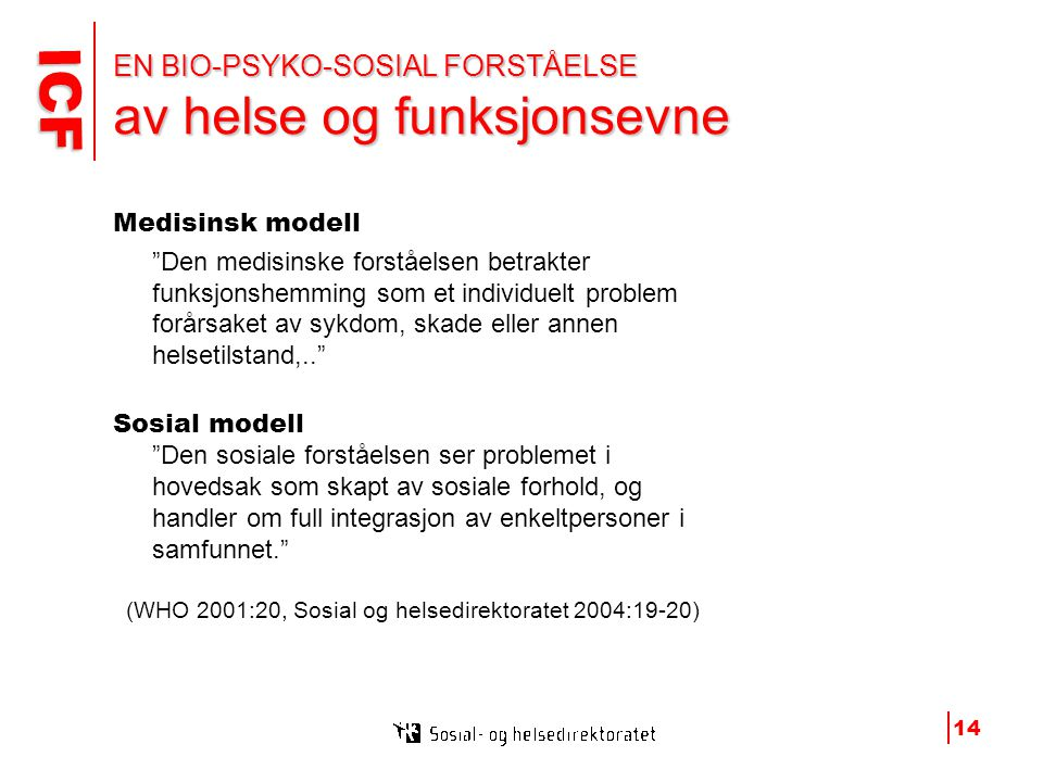 EN BIO-PSYKO-SOSIAL FORSTÅELSE av helse og funksjonsevne