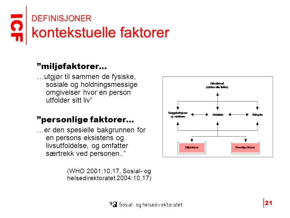 DEFINISJONER kontekstuelle faktorer