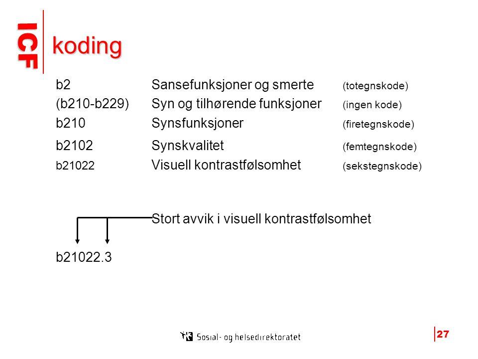koding b2 Sansefunksjoner og smerte (totegnskode)